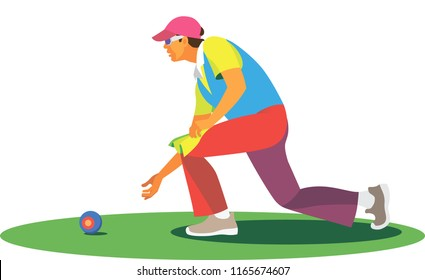 young lean man is a player in the bowls, which participates in competitions in the grass field
