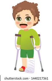 Young little boy with plaster leg cast walking with crutches