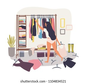 Young long-haired girl standing in front of hanger rack with clothes scattered around and trying to choose outfit. Nothing to wear concept. Cartoon colorful vector illustration in flat style