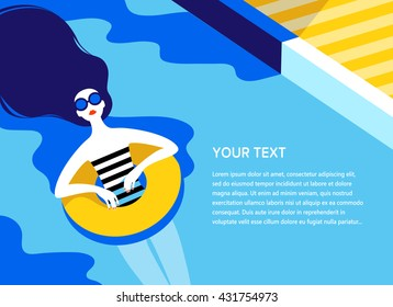 Young long-haired girl sunbath on ring in the swimming pool. Summer vacation, pool party concept. Vector illustration.