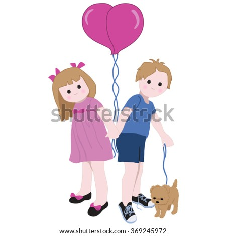 Young Love Cute Valentine Drawing Young Stock Vector Royalty Free
