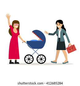 Young and lovely caucasian girl with a baby stroller waving hand to her girlfriend the businesswoman. Vector illustration isolated on white. Cartoon style. Friends. Married gay couple. Lesbian family.