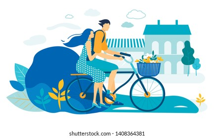 Young Loving Couple Riding Bicycle Together. Summer Time Vacation Sparetime, Leisure, Romantic Voyage. Love, Human Relations. Male and Female Character Cycling on Bike Cartoon Flat Vector Illustration
