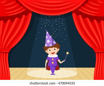 Young magician on stage. Children's performance. Small actor on stage playing the role of a wizard. A scene from the play. A child in a suit with a magician's wand. Stock illustration