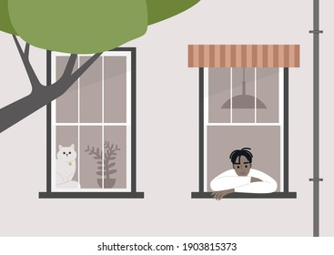 Young male Black character staying at home an looking out of the window, a lockdown scene