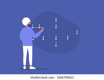 Young male character connecting the dots, step by step strategic plan, problem solving