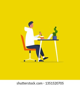 Young male character eating an asian take away lunch and working on the computer. Modern manager. Workaholic. Millennials at work. Flat editable vector illustration, clip art