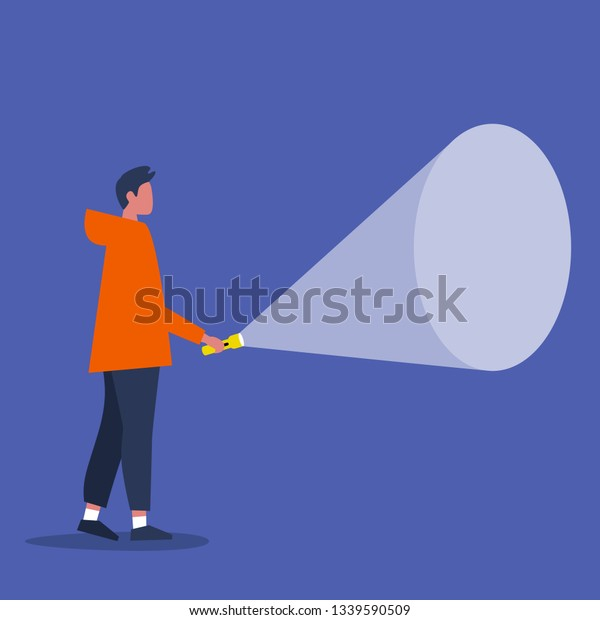 Young male character holding a flashlight. Your text here / Flat editable vector illustration, clip art