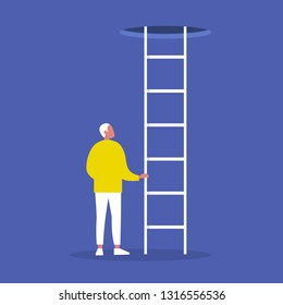 Young male character holding a ladder. Going up. Successful career. Opportunities. Conceptual vector illustration, clip art