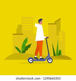 Young male character riding an electric scooter. Urban  transportation. Modern technologies. Millennial lifestyle. Active young adults. Flat editable vector illustration, clip art