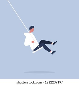 Young male character sitting on a swing. Modern lifestyle. Having fun. Flat editable vector illustration, clip art