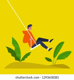 Young male character swinging on a swing. Modern lifestyle. Summer. Having fun. Flat editable vector illustration, clip art