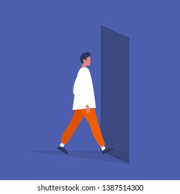 Young male character walking through a doorway. Daily life. Flat editable vector illustration, clip art