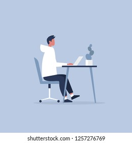 Young male character working in the office. Furniture. Cabinet. Workspace. Millennials at work. Flat editable vector illustration, clip art