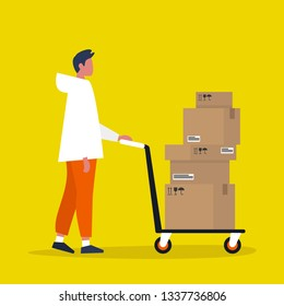 Young male courier rolling a pushcart. Cargo. Delivery service. Flat editable vector illustration, clip art