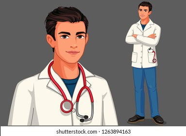 Young male doctor with stethoscope and apron in standing position vector illustration 1