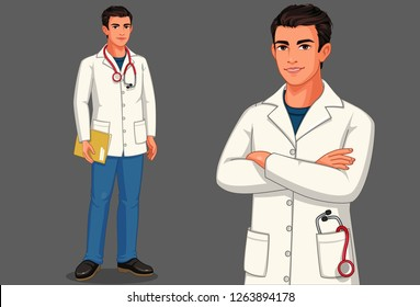 Young male doctor with stethoscope and apron in standing position vector illustration 2