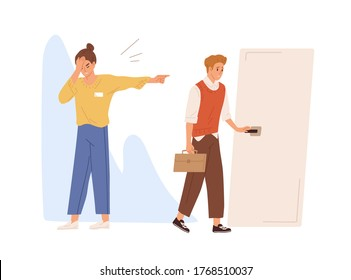 Young male employee dismissed from job vector flat illustration. Upset female employer pointing on door direction to fired worker isolated on white. Sad man discharged for bad work