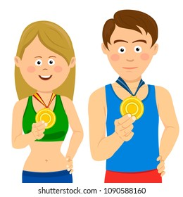 Young male and female athletes showing their gold medals
