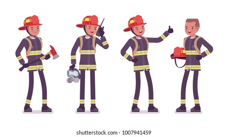 Young male firefighter standing. Professional fireman in uniform, fire department rescuer with axe. Emergency services jobs concept. Vector flat style cartoon illustration isolated on white background