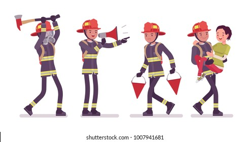 Young male firefighter at work. Professional fireman in uniform, fire department rescuer with gear. Emergency services jobs concept. Vector flat style cartoon illustration isolated on white background