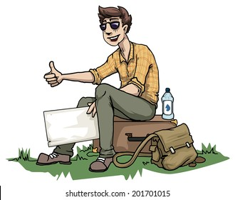 Young male hitchhiking, vector illustration