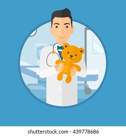 Young male pediatrician doctor holding a teddy bear. Professional pediatrician doctor with a teddy bear in the hospital room. Vector flat design illustration in the circle isolated on background.