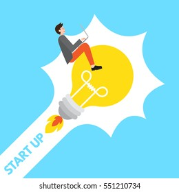 A young male start up entrepreneur with laptop riding on a lightbulb of a good idea towards business success