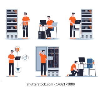 Young male sysadmin set. Collection of man working on computer and doing technical work with server. Support and administration. Isolated flat vector illustration