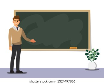 Young male teacher on lesson at blackboard in classroom,Vector illustration cartoon character.