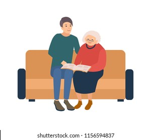 Young male volunteer sitting on sofa with happy elderly woman and looking photos in photographic album. Social volunteering, assistance and care for old people. Vector illustration in cartoon style.