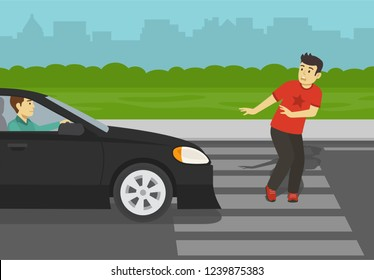 Young man about to be hit by car on crosswalk. Dangerous situation on zebra. Flat vector illustration.