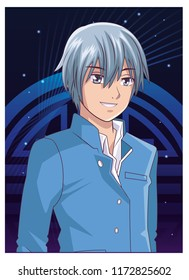 Young man anime cartoon