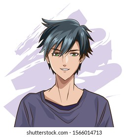 young man anime style character vector illustration design