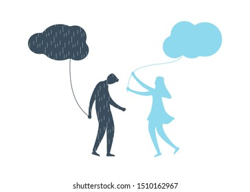 Young man with anxiety and depression holding dark cloud with rain. His girlfriend supports and helps him with mental illness, brings to him happy feellings with clean sky. Flat vector illustration.
