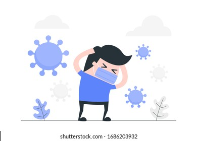 Young man anxiety and fear because of the corona virus. Healthcare concept illustration.