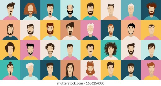 Young Man Avatar flat style vector icon set. Male Faces icon design collection with different styles of hairstyle, beard, mustache. Portrait avatars and hairstyle for man in social media.