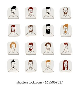 Young Man Avatar hand drawn style vector icon set. Male Faces icon design collection with different styles of hairstyle, beard, mustache. Portrait avatars and hairstyle for man in social media, sketch
