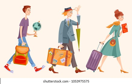 Young man a backpack, man with a suitcase and an umbrella, girl with a suitcase and a guidebook. Vector illustration