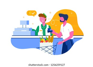 Young man with beard buys food, products for cash in grocery. Concept customer, cashier at cash box, employee, staff at work in shop. Vector illustration.