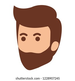 young man with beard head avatar character