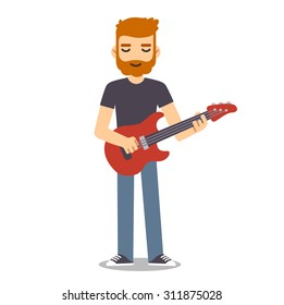 Young man with beard playing electric guitar.  Indie rock guitarist in flat cartoon style.