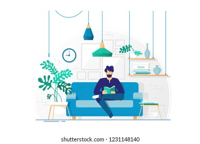 Young man with beard reading book sitting on couch. Concept living room with sofa, student or businessman. Vector illustration.