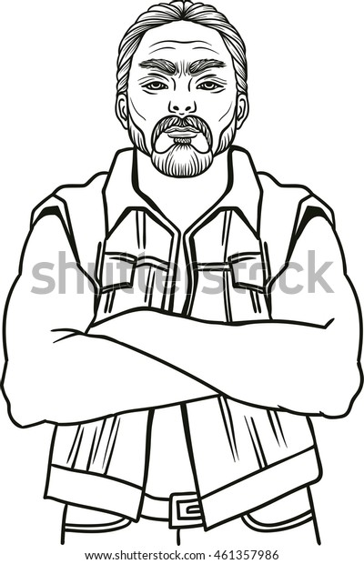 Young man bearded biker. Hand drawing vector illustration engraving style Best for tattoo salon poster, adult coloring books, t-shirt design