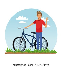 Young man with bike