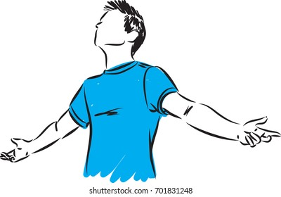 young man breathing concept vector illustration