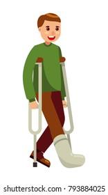 young man with broken leg walking using crutches flat vector illustration