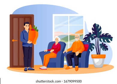 Young man brought food package to elderly parents or grandparents. Volunteer social worker delivers grocery to senior couple. Vector flat cartoon characters illustration. Taking care of older people.