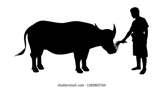 Young man with buffalo silhouette vector