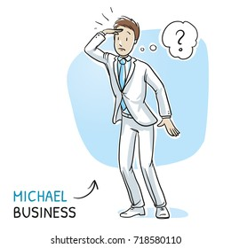 Young man in business suit holding a hand above his eyes, searching for something. Hand drawn cartoon sketch vector illustration, whiteboard marker style coloring.